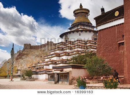 Ancient stupa Kumbum in Pelkhor Chode monastery. Gyantse, Tibet