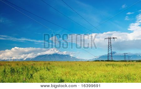 Landscape with mountains and electric power line