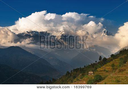 Himalayan village on mountainside, Nepal