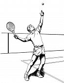 stock photo of flogging  - draw of tennis player made with a 2d draw program - JPG