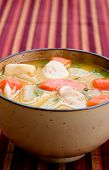 image of cho-cho  - A bowl of caribbean style chicken soup with carrots potatoes herbs and cho - JPG