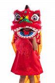 Постер, плакат: Asian Chinese Little Girl With Lion Dance Costume