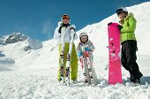 Family winter vacation in ski resort