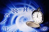 pocket watch on an astrological background