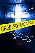 picture of murder  - police crime scene with yellow boundary tape - JPG