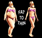 stock photo of blubber  - An image of a women who has gone from being fat to thin a useful image about weight loss - JPG