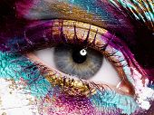 Beauty, Cosmetics And Makeup. Bright Creative Make-up poster
