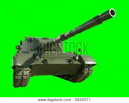 Leopard Military Tank On Green