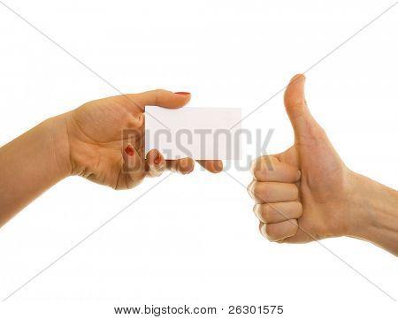 Visitenkarten in den Händen von zwei Geschäftsleute
