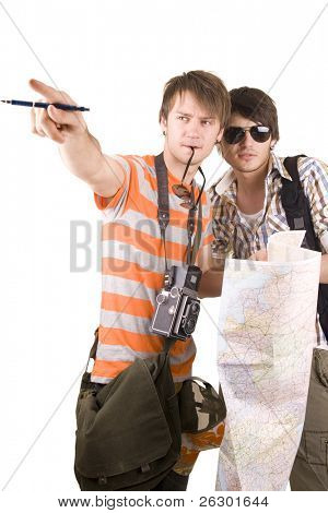 tourists with map