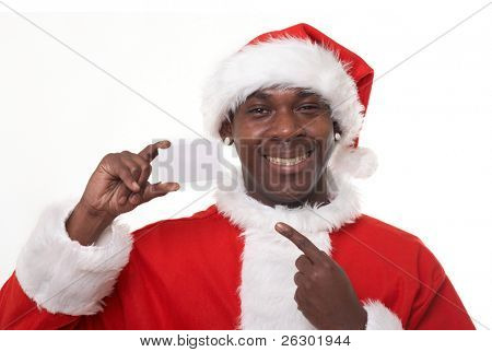 happy black santa claus holding a business card