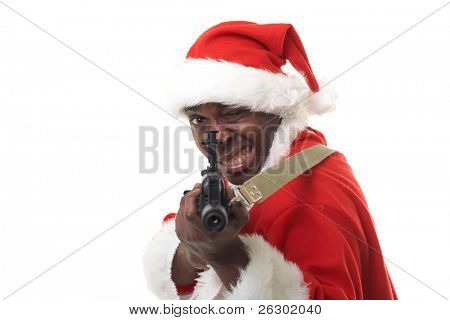 black santa claus with an assault rifle