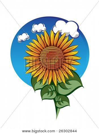 Eps10 sunflower template for label
