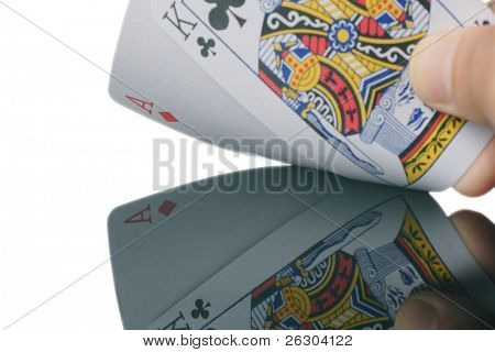 pontoon card game showing 21