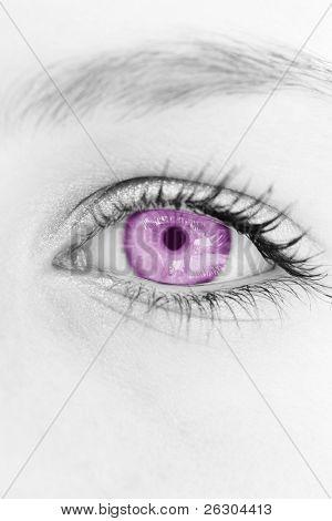 selective magenta coloring of a females  eye.