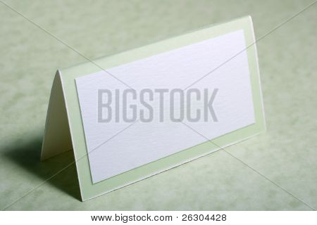 seating placement card for a guest at a party