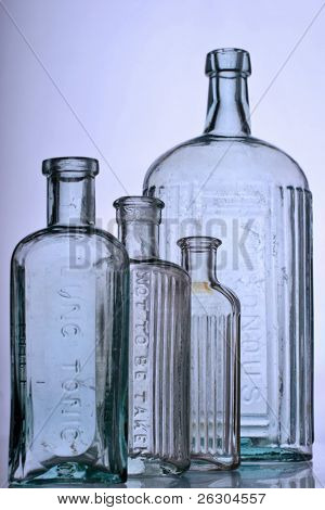 antique glass bottles, medical purposes