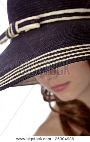 woman wearing a hat , focus on hat brim