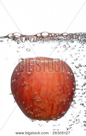 fresh juicy red apple,in water