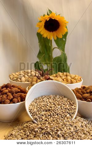 Mixed nuts and sunflower
