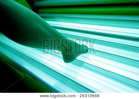 Girl in a solarium
