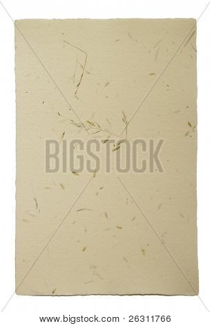 Hand made paper with small pieces of grass