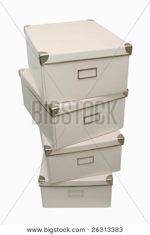 White storage boxes