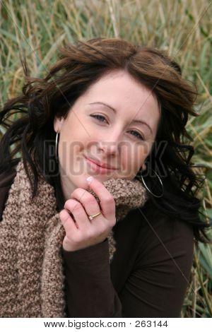 Closeup Of Woman In Grass