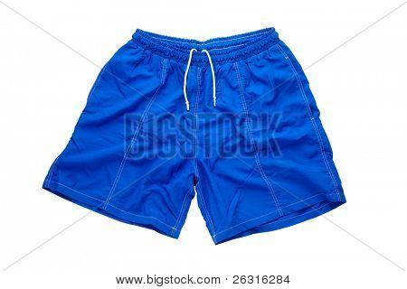 Blue shorts isolated on the white background