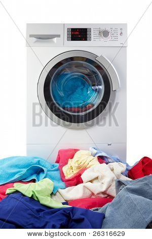 Modern Washing Machine with clothes