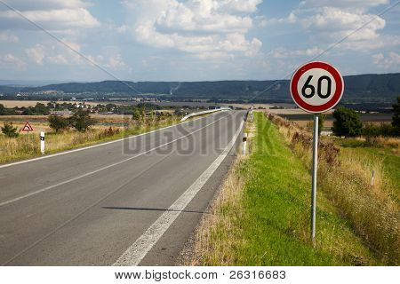 Road sign for the maximum speed limit