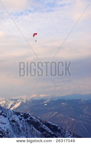 Paraglide in mountains, Red Polyana, Sochi, Russia