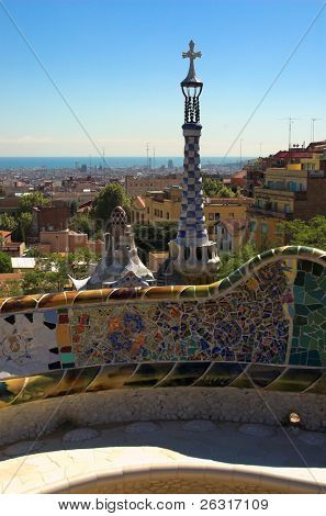 Spice-cake houses in Park Guell by Antoni Gaudi, Barcelona, Spain