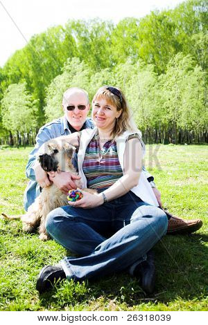 Irish soft coated wheaten terrier dog and family