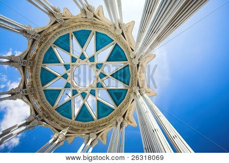 columns and circle on top, vintage arch in moscow, russia