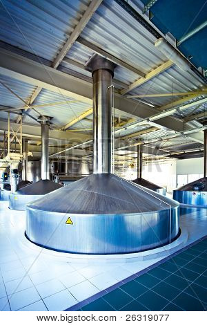 On the territory of brewer's plant with steel fermentation vat