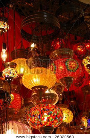 Turkish lamps in Grand Bazaar in Istanbul, Turkey