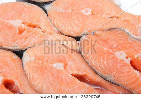 Raw salmon stakes texture