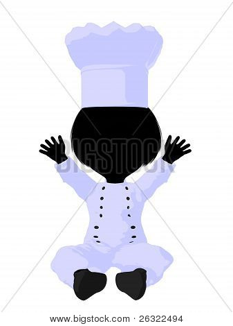 Little Chef Girl Illustration Silhouette