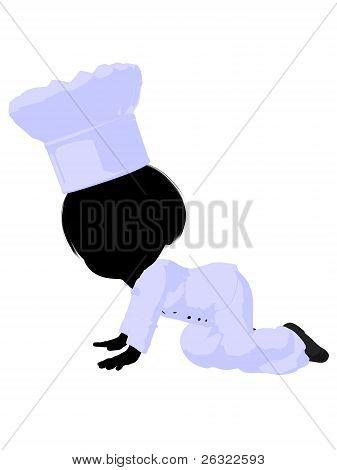 Little Chef Girl Illustration Silhouette