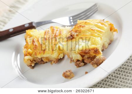 Two pieces of cottage pie on the white plate
