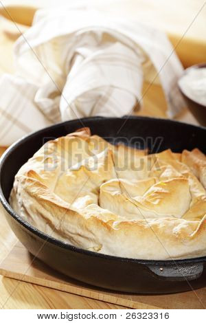 Banitsa, the traditional Bulgarian dish on the rustic table