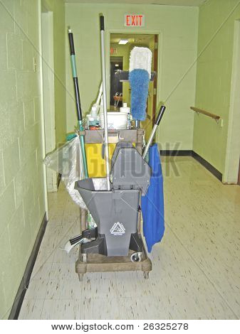 Cleaning cart in a hall of a care institution.