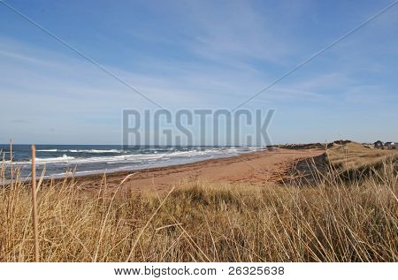 Waves rolling in on a north shore Prince Edward Island Beach.