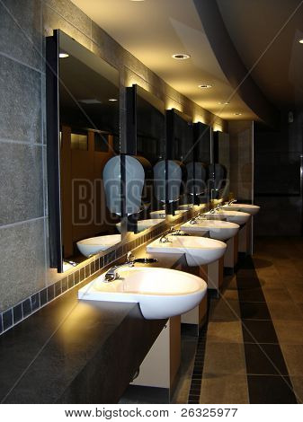 The interior of an executive washroom.