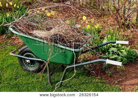 A wheelbarrow full of refuse in the spring garden.