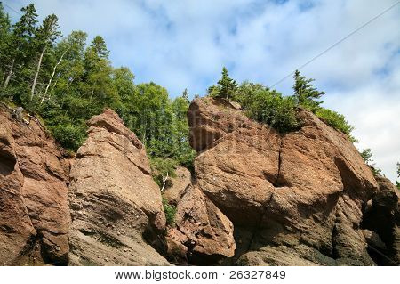 Some of the flower pot rock spires found at Hopewell, New Brunswick, Canada.