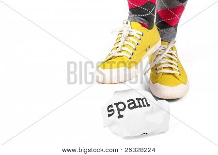 Stamp out spam.  A metaphor for the distaste and elimination of spam be it by spyware or personally.
