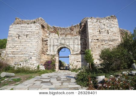 Ruins of the arch of the Gate of Persecution of the St. Johns Basilica  on Ayasuluk Hill, Selcuk, Ephesus, Turkey.