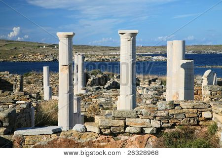 View overlooking 'Cleopatra's House' and the ruins of Delos towards the shore. The Greek island of Delos, is one of the most important historical and archaeological sites in Greece.